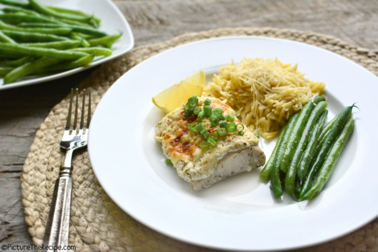 Baked Fish with Dill Sour Cream Topping