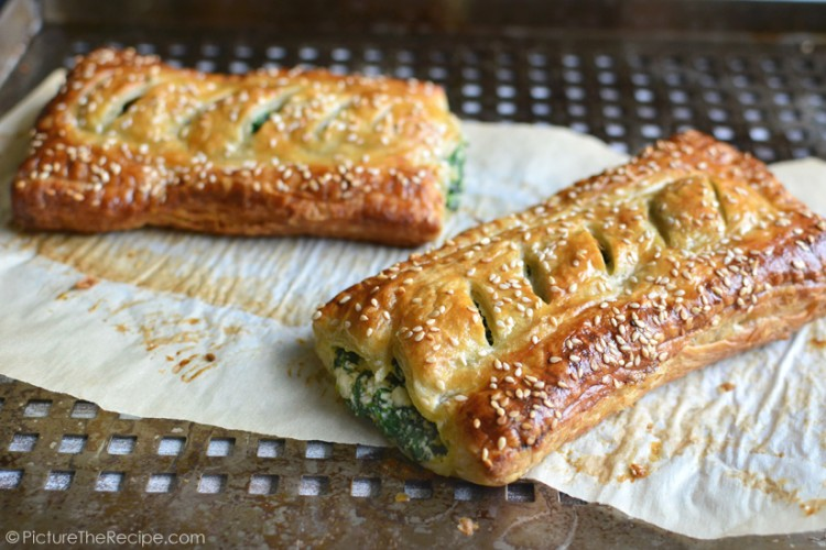 Spinach Puff Pastry Rolls with Feta & Ricotta