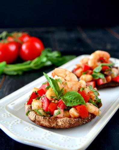 Roasted Portobello Topped with Spicy Shrimp Bruschetta (Paleo/Whole30)