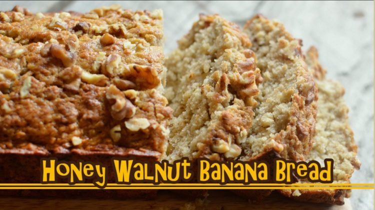 Super Easy & Moist Honey Walnut Banana Bread