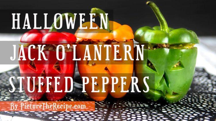 Halloween Jack O-Lantern Stuffed Peppers