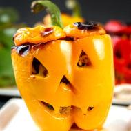 Halloween Jack O'Lantern Stuffed Peppers