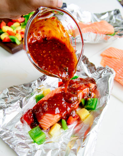 Sweet & Sour Salmon in Foil Packets